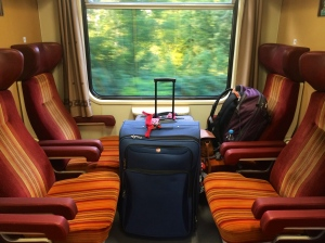What the train car looked like on the way from Prague.