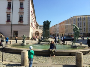 At one of many of Olomouc's Neoclassical fountains.
