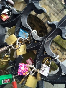 Lover's locks in closeup