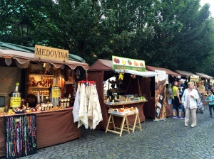 Medovina = honey wine, sold beneath the bridge.