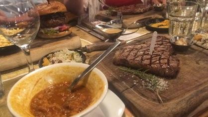 "Hamburger, ""cowboy soup,"" steak."