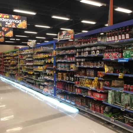 american food aisle in bilka supermarket in denmark